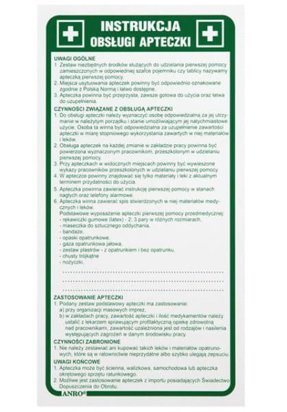 Znak Instrukcja Obsługi Apteczki Z-IB10-P-110x220
