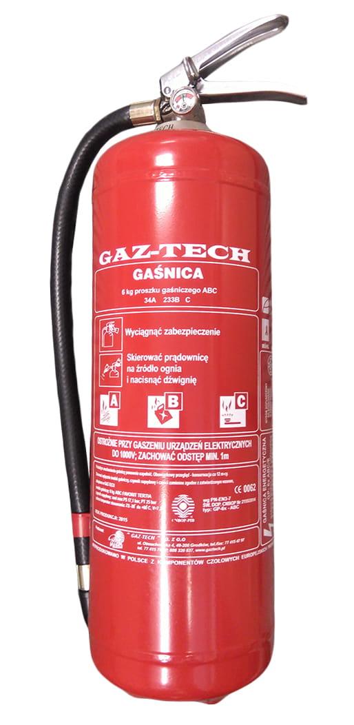 Gaśnica proszkowa 6 kg ABC GAZ-TECH TIR