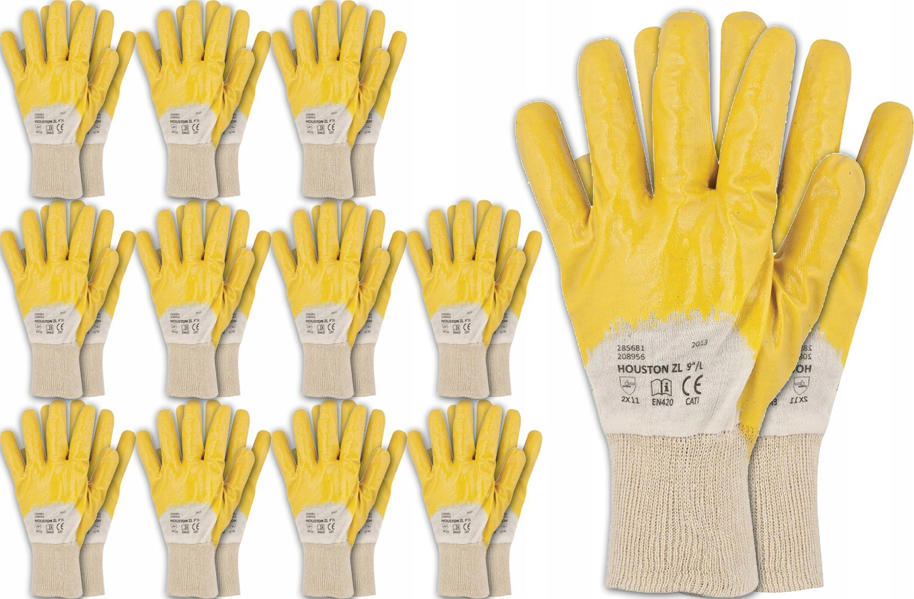 12x Rękawice robocze HOUSTON nitryl żółte ARD